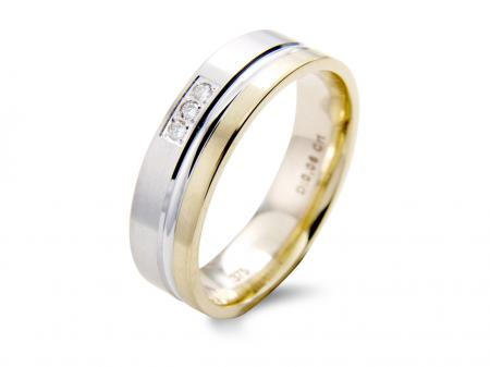 Two Tone Wedding Band with Three Stones (AM1427)