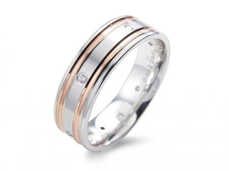 Rose and White Stone Set Wedding Band (AM1418)