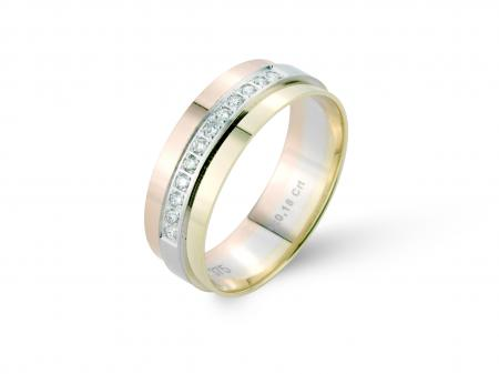 Three Colour Stone Set Wedding Band (AM2526)