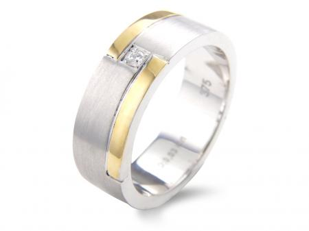 Two Tone Stone Set Wedding Band  (AM1529)