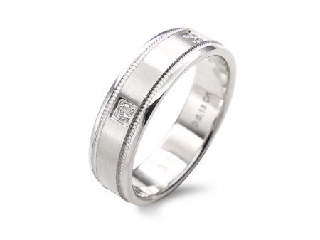 Wide Stamped Edge Stone Set Wedding Band (AM1399)