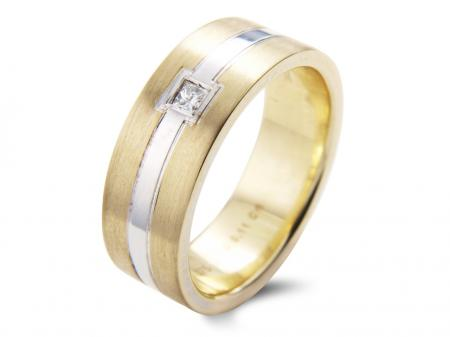 Two Tone Square Stone Wedding Band (AM1857)