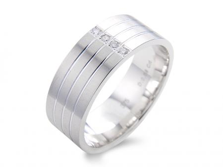 All White Wide Wedding Band With 4 Stones (AM1764)