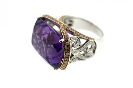 Large Amethyst / Diamond Cocktail Ring