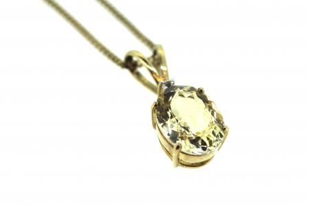 9ct gold Citrine & Diamond Pendant (J0012)