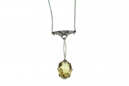 Platinum Art Deco Yellow Sapphire/Diamond Drop Pendant  (0938)