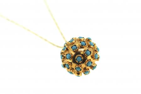 Vintage 15ct Turquoise Cluster Ball Pendant (1776)