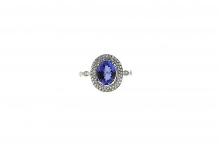 18ct Halo set Tanzanite & Diamond Ring