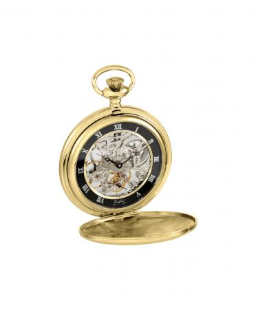 Gold / Black Skeleton Pocket Watch (1107)