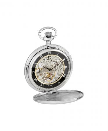 Chrome / Black Skeleton Pocket Watch (1108)