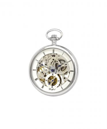 Chrome Pocket Watch - Full Size Skeleton Movement (1043)