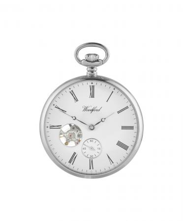 Chrome Open Mechanical Pocket Watch (1106)