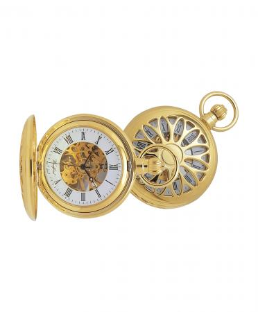 Gold Skeleton Mechanical Pocket Watch (1029)