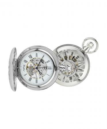 Chrome Skeleton Mechanical Pocket Watch (1052)