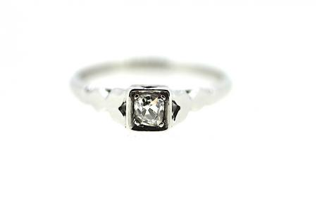 Art Deco Cushion Cut Solitaire Diamond Ring (1909)