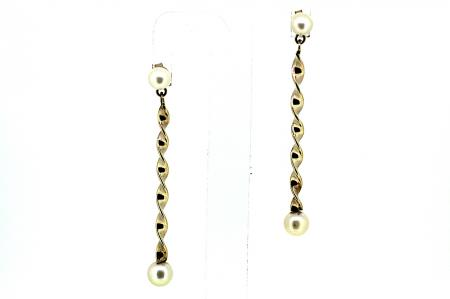 Vintage Gold Pearl Twist Earrings