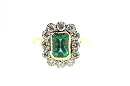 Vintage Emerald Diamond Ring (1941)