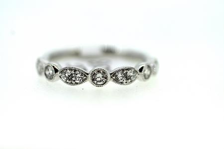 Platinum Diamond Vintage Style Wedding / Eternity Ring (RG008)