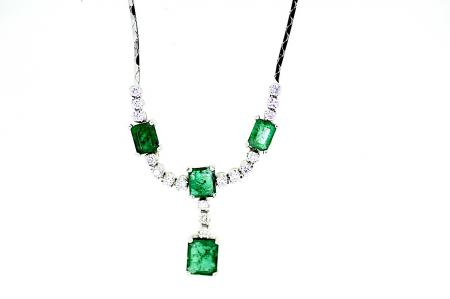 Art Deco Emerald Diamond Necklace
