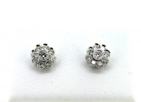 18ct White Gold Flower Cluster Diamond Studs (NS0008)