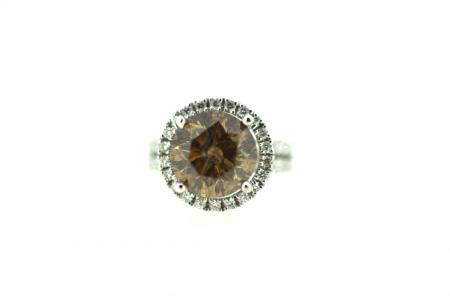 18ct Natural Cognac & Diamond Solitaire (J0043)