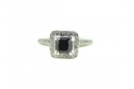 18ct Black Diamond Solitaire Princess Cut(1693)