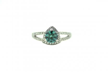 Platinum Natural Blue Diamond Ring (1348)