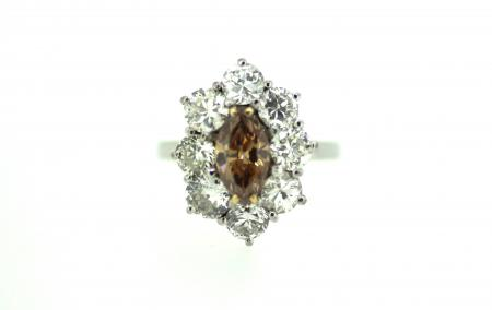 18ct Cognac & Diamond Ring (1953)