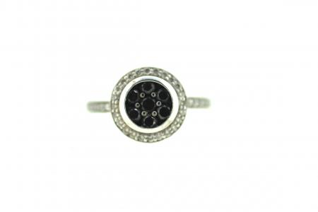 14ct Black Diamond & Diamond Ring (1721)