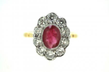 18ct Art Deco Ruby & Diamond Ring (1406)