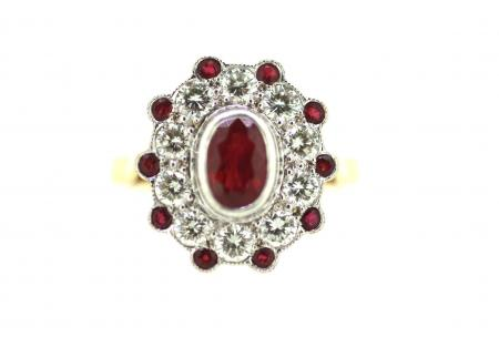 Vintage Ruby & Diamond Ring (1629)