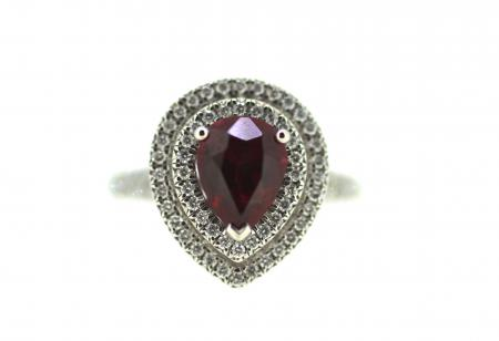 Platinum Pear Shape Ruby & Diamond Ring (6808)