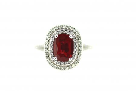 Platinum Oval Ruby & Diamond Ring (ENG6801)