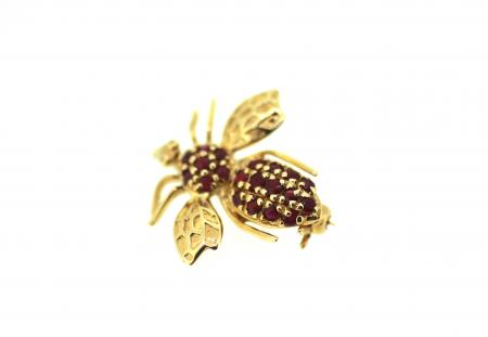 Vintage 14ct Ruby Bee Brooch/Pendant (2031)