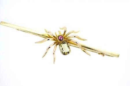 Antique Pink / Green Amethyst Brooch (2167)