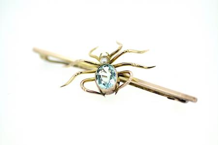 Antique Aquamarine / Seed Pearl Brooch