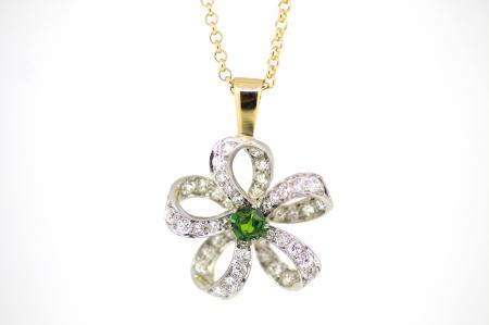 Art Deco Green Garnet Diamond Flower Pendant (2169)