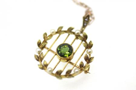 Art Nouveau Rare Green Tourmaline Seed Pearl Brooch Pendant (2138)