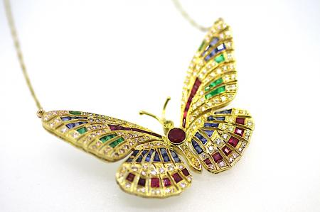 Bespoke Multi Gem Large Butterfly Pendant  (2168)
