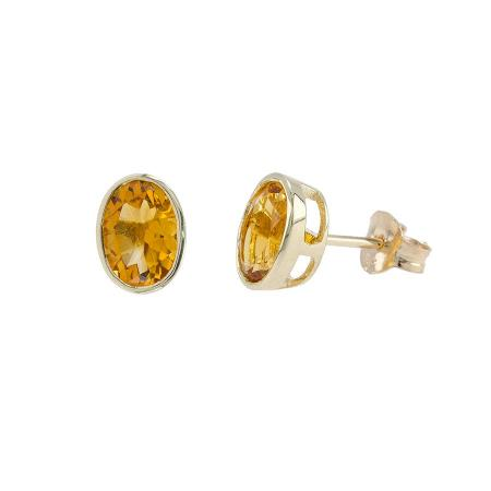 Citrine Oval Stud Earrings