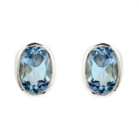 Aquamarine Oval Stud Earrings