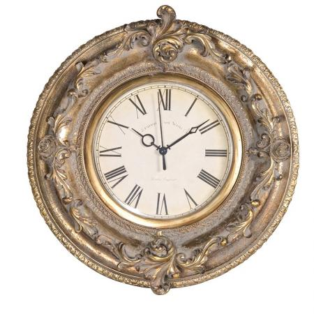 Antique Carved Gold Effect Round Clock