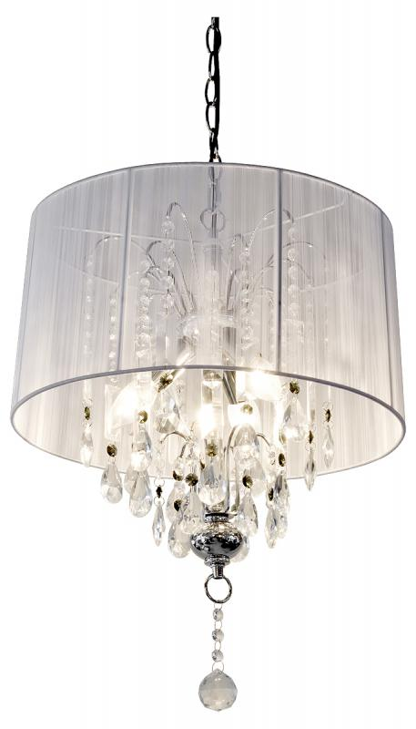 Shabby Chic Large White Thread Crystal Chandelier