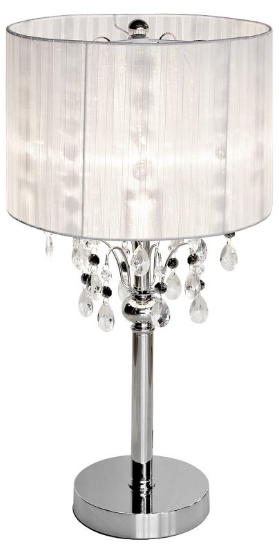 Shabby Chic White Thread Crystal Table Lamp / Chandelier