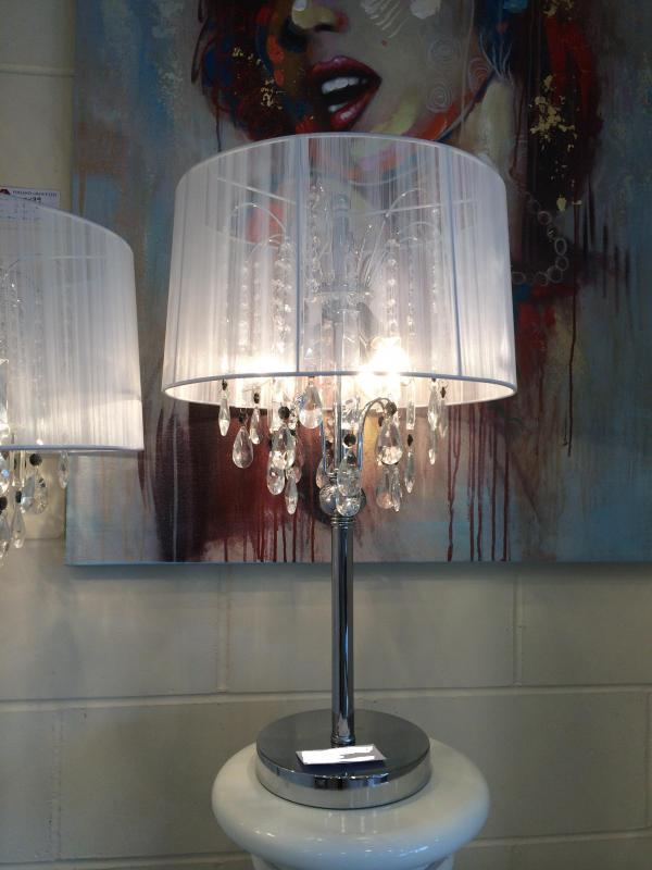 white crystal table lamp