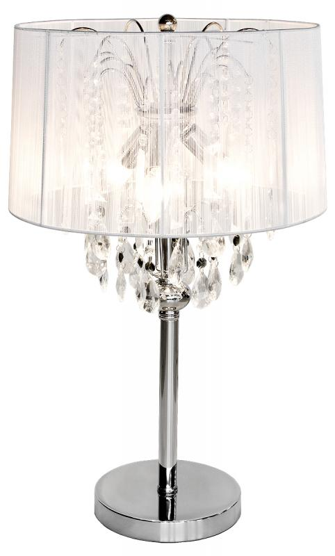 Large Shabby Chic White Thread Crystal Table Lamp