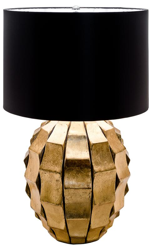 Large Gold Chunky Base Modern Table Lamp / Black Shade