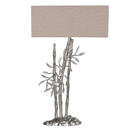 Bamboo Shoots Contemporary Silver Lamp With Ivory Shade