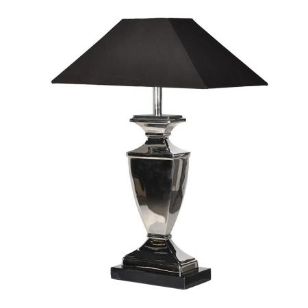 Square Nickel Urn Table Lamp With Black Shade
