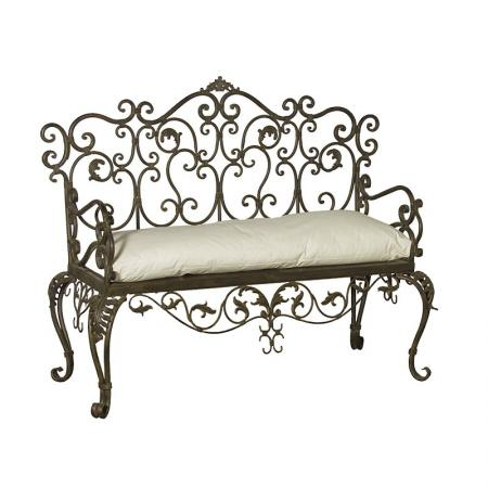 Rustic French Ornate Scrolled Garden Bench